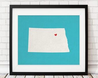 Custom North Dakota State Art, Customized State Map Art, Personalized, North Dakota Art, ND Heart Map, North Dakota Map, North Dakota Print