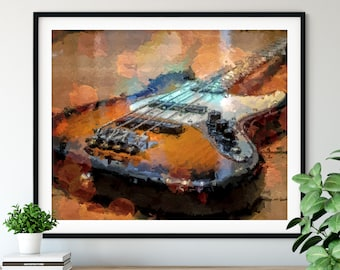 Bass Guitar Print - Guitar Player Gift, Guitar Oil Painting Poster, Electric Guitar Wall Art, Musician Band Wall Decor, Guitar Artwork