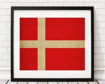 Denmark Flag Art, Denmark Flag Print, Flag Poster, Country Flags, Denmark Poster, Wall Art, Danish, Copenhagen, Flag Painting, Danish Gifts