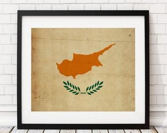 Cyprus Flag Art, Cyprus Flag Print, Flag Poster, Country Flags, Cyprus Gifts, Wall Art, Wall Decor, Housewarming Gift Ideas, Flag Painting