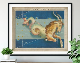 Antique Capricorn Print - Astrology Art, Zodiac Wall Decor, Celestial Wall Art, Horoscope Gifts, Astrological Sign, Constellation Poster