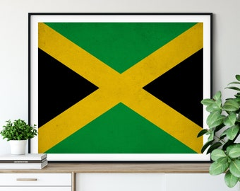 Jamaica Flag Print, Jamaica Flag Art, Jamaican Flag, Jamaica Gifts, Flag Poster, Moving Gift, Vintage Flag Wall Art, Jamaican Art
