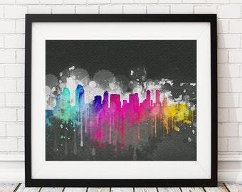San Diego Skyline Print, San Diego Art, San Diego Print, Watercolor Art, Watercolor Painting, Wall Art, San Diego CA, California Poster