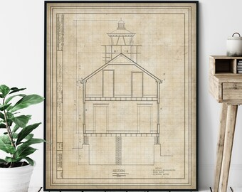 Jones Point Lighthouse Elevation Print - Potomac River Lighthouse Art, Architectural Drawing, Nautical Decor, Coastal Print, Alexandria VA