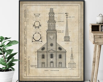 First Presbyterian Church Elevation Print - Historic Landmark Blueprint, Architecture Plan, Architectural Drawing, Church Art, Church Print