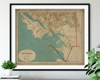 1893 New Rochelle New York Map, Vintage Map Art, Antique Map Print, New Rochelle Map, Old Map, New York Wall Art, Neighborhood Street Map