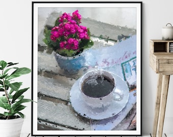 Coffee Print - Cup of Coffee Gift, Cafe Art, Coffee Bar Decor, Oil Painting Poster, Kitchen Wall Art, Foodie Gift, Breakfast Nook Wall Decor