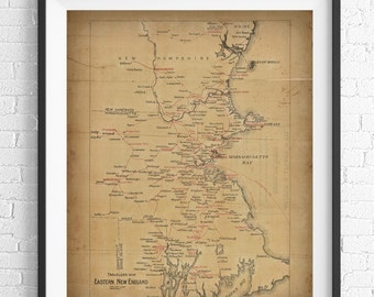 New England Map Print, Vintage Map Art, Antique Map, Wall Art, History Gift, Map Poster, Maine, Massachusetts, New Hampshire, Rhode Island
