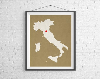 Custom Italy Silhouette Print, Customized Country Map Art, Personalized Italy Gift, Italy Art, Heart Map, Italy Map, Love Map, Home Country