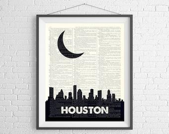 Houston Skyline Print, Houston Texas Prints, Houston Skyline Wall Art, Dictionary Art Print, City Prints, Skyline Art, Cityscape Art, Texas