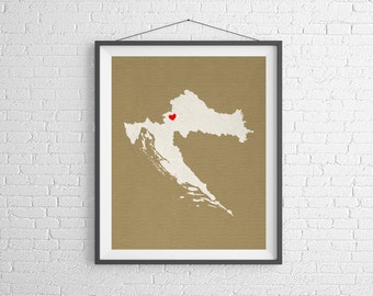 Custom Croatia Silhouette, Customized Country Map Art, Personalized Gift, Croatia Art, Croatia Print, Heart Map, Home Country Croatia Map