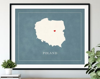 Custom Poland Map Art - Heart Over ANY City - Customized Country Map Silhouette, Personalized Gift, Hometown Love Print Travel Heart Map