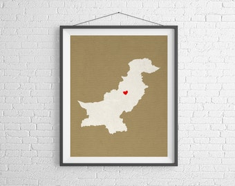 Custom Pakistan Silhouette Print, Customized Country Map Art, Personalized Gift, Pakistan Print, Heart Map, Pakistan Map, Home, Love, Poster