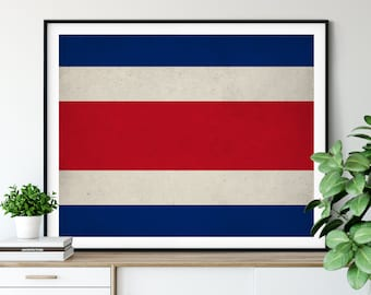 Costa Rica Flag Art, Costa Rica Flag Print, Flag Poster, Country Flags, Flag Painting, Costa Rican Gifts, Housewarming Gift, Industrial Art