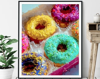 "Donuts Print -""Extra Sprinkles"" - Oil Painting Poster, Kitchen Wall Art, Foodie Gift, Dessert Wall Decor, Food Artwork, Colorful Pop Art"