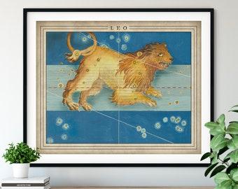 Antique Leo Print - Astrology Art, Zodiac Wall Decor, Celestial Wall Art, Horoscope Gift, Astrological Sign, Constellation Poster, Spiritual