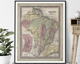 1855 Brazil Map Print - Vintage Map Art, Antique Map, Old Map Poster, History Buff Gift, History Teacher Wall Art, Paraguay, Rio de Janeiro