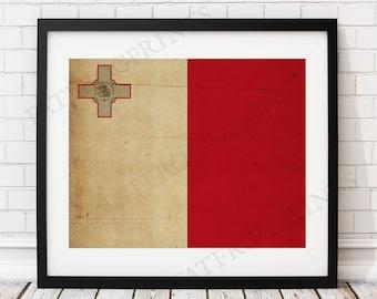 Malta Flag Print, Malta Flag Art, Malta Gifts, Flag Poster, Moving Gift, Vintage Flag Wall Art, Malta Art, Valletta Malta Art, Antique Flag