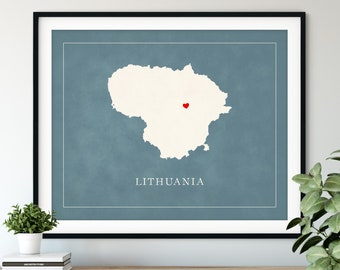 Custom Lithuania Map Art - Heart Over ANY City - Customized Country Map Silhouette, Personalized Gift, Hometown Love Print, Travel Heart Map