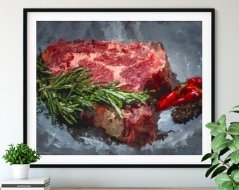 "Raw Steak Print - ""Rare"" - Oil Painting Poster, Kitchen Wall Art, Chef Gift, Restaurant Wall Decor, Dining Room Decor, Foodie Art, Cook Gift"