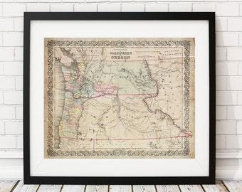1853 Washington Map, Oregon Map, Vintage Map Art, Antique Map Print, Wall Art, Old Maps, Map Poster, Territory Map Art, Washington State Map