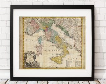 1742 Italy Map Print, Vintage Map Art, Antique Map Art, Wall Art, History Gift, Italia Map, Italian Gift, Italy Gift, Italy Print, Old Maps