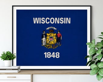 Wisconsin Flag Art, Wisconsin Flag Print, WI State Flag Poster, Vintage Flag, Wisconsin Art, Wisconsin Gift, Entryway Art, Home Office Art