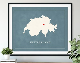Custom Switzerland Map Art - Heart Over ANY City, Customized Country Map Silhouette, Personalized Gift, Hometown Love Print Travel Heart Map
