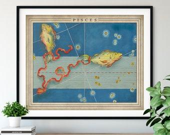 Antique Pisces Print - Astrology Art, Zodiac Wall Decor, Celestial Wall Art, Horoscope Gifts, Astrological Sign, Constellation Poster