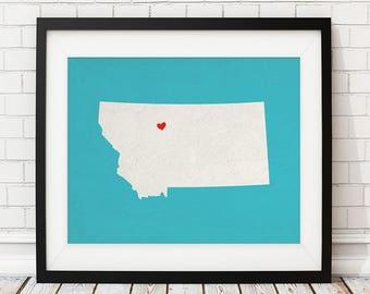 Custom Montana State Art, Customized State Map Art, Personalized Gift, Montana Art, Heart Map, Montana Map, Love Map Print, Montana Print