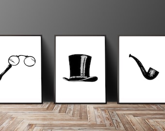 Gentlemen Print Set of 3 - Top Hat Print - Black White Art - Top Hat Art - Top Hat Pipe Monocle Painting - Office Man Cave Art Gifts for Him
