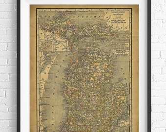 Michigan Map Print, Vintage Map Art, Antique Map Wall Decor, Michigan Art, Michigan Print, History Gift, Cartography, Geography, Great Lakes