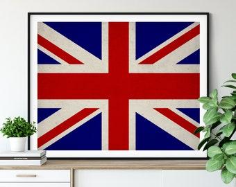 United Kingdom Flag Art, United Kingdom Flag Print, UK Flag Poster, Country Flags, UK Poster, UK Gifts, England, English, Housewarming Gift