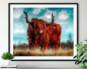 Highland Cow Print, Highland Cow Art, Oil Painting Print, Highland Cow Wall Art, Close Up Animal Portrait, Highland Cow Poster, Wall Decor