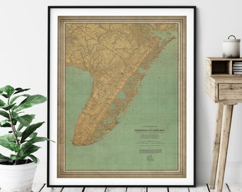 1888 Cape May New Jersey Map Print, Vintage Map, Antique Map, Old Map, Cape May Print, Cape May Art, Jersey Shore Wall Art, Topographical