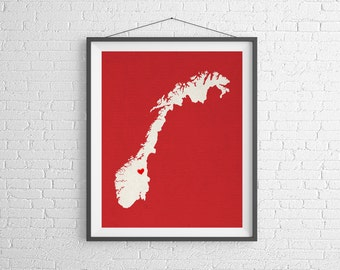 Custom Norway Silhouette Print, Customized Country Map Art, Personalized Gift, Norway Art, Heart Map, Norway Map, City Map, Norway Poster