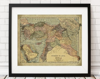 Turkey Map Print, Vintage Map Art, Antique Map, Map Poster, Turkish Wall Art, Country Map, History Gift, Cartography, Industrial Wall Decor
