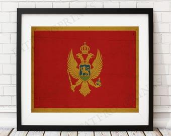 Montenegro Flag Print, Montenegro Flag Art, Montenegro Gifts, Flag Poster, Housewarming Gift, Vintage Flag Wall Art, Montenegro Painting