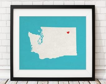 Custom Washington State Art, Customized State Map Art, Personalized, Washington Art, Heart Map, Washington Map, Love, Washington Print