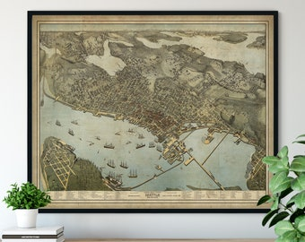 1890 Seattle Washington Birds Eye View Print - Vintage Map Art, Antique Street Map Print, Aerial View Poster, Historical Art, Seattle Art