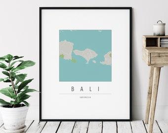 Bali Map Print - Modern Bali Art, Minimalist Bali Print, Bali Gifts, Bali Indonesia Wall Art, Bali City Street Map, Office Wall Decor