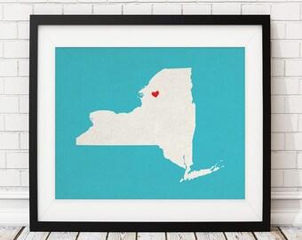 Custom New York State Art, Customized State Map Art, Personalized Gift, New York Art, NY Heart Map, New York Map, NYC Art, New York Print