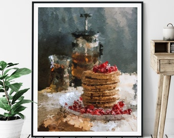 Waffle Stack Print - Oil Painting Poster, Kitchen Wall Art, Breakfast Nook Wall Decor, Abstract Food Artwork, Cafe Art, Chef Food Lover Gift