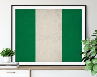 Nigeria Flag Print, Nigeria Flag Art, Nigerian Flag, Nigeria Gifts, Flag Poster, Moving Gift, Vintage Flag Wall Art, Nigerian, African Art