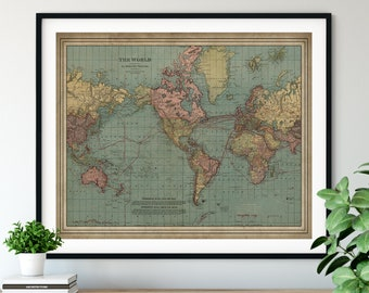 1912 World Map Print, Vintage Map Art, Antique Map, Old Map, Globe Map Wall Art, Ocean Currents Map, Nautical Map, Cartography Gift, Atlas