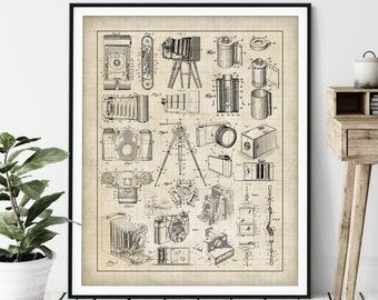 Camera Collage Print - Customizable Film Camera Blueprint, Photographer Gift, Photography Patent Poster, Photo Studio Wall Decor,