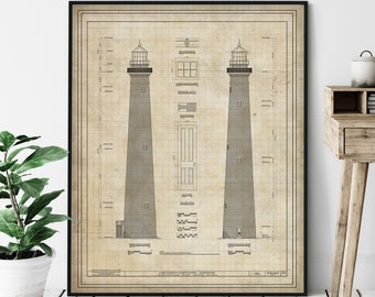 Cape Lookout Lighthouse Elevation Print - Outer Banks Lighthouse Art, Architectural Drawing, Nautical Wall Decor, Coastal Print, NC Gifts