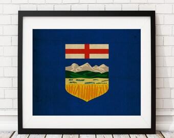 Alberta Canada Flag Art, Canadian Flag Print, Flag Poster, Office Wall Art, Canada Poster, Flag Wall Decor, Gift Idea, Grunge, Vintage
