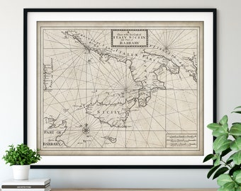 1750 Italian Coast & Sicily Map Print, Vintage Sea Map Art, Antique Italy Map Wall Art, Old Map Poster, Sailing Gift, Nautical Chart, Sailor