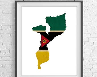 Mozambique Flag Map Print, Mozambique Map, Mozambique Silhouette, Housewarming Gift Idea, Flag Poster, African Wall Art, Map of Mozambique